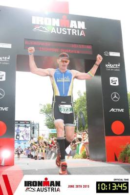 Andy completing Ironman Austria